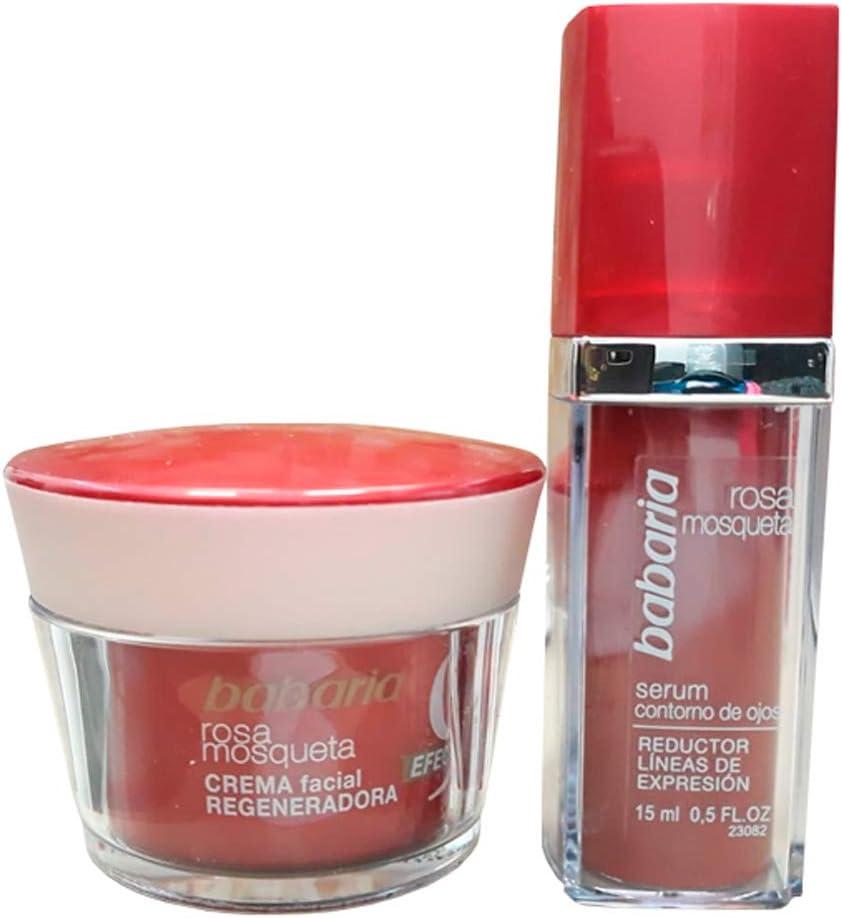 Babaria Estuche con Crema Facial Regeneradora y Reductor Línfas de Expresion, Rosa Mosqueta: Amazon.es: Belleza