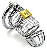 FANGMING 16 x 3.7cm large size stainless steel cock cock cage male chastity device and 3 size (1.5/1.75 / 2inch) penis penis ring selection