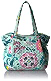Vera Bradley Iconic Glenna Satchel, Signature Cotton, Mint Flowers