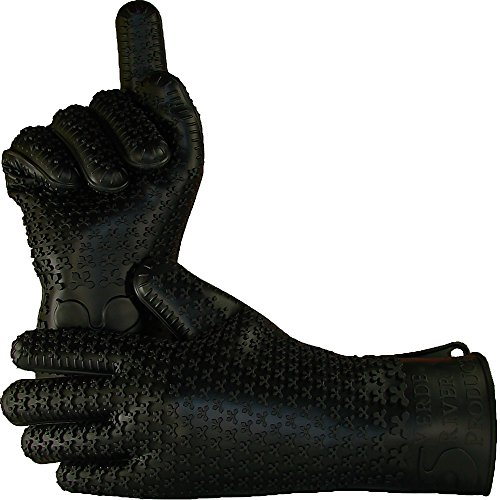 Verde River Products Silicone Heat Resistant BBQ Grilling Gloves - Best Protective Insulated Kitchen - Oven – Grill – Baking - Smoker & Cooking - Waterproof Grip - Replace Potholder & Mitts XL BLACK