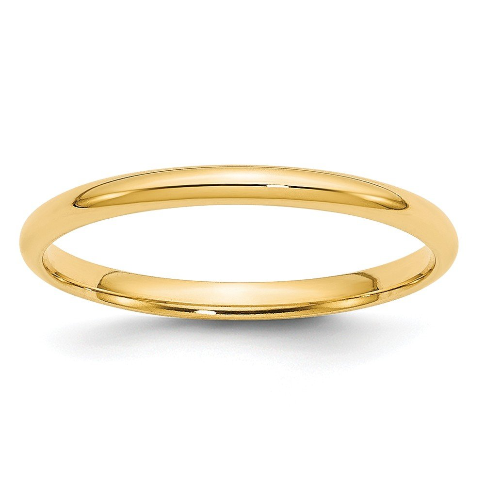 14k Yellow Gold 2mm Light Weight Comfort Fit Band Size 7