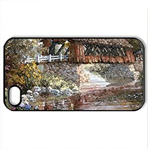 Covered Bridge Over Stream F2 - Case Cover for iPhone 4 and 4s (Bridges Series, Watercolor style, Black)