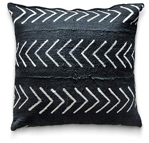 Craft & Kin Throw Pillow Covers 18 x 18 - Authentic African Mud Cloth Fabric Handwoven in Uganda with Zipper for Home Decoration for Living Room Decor Sofa (Black Arrow)