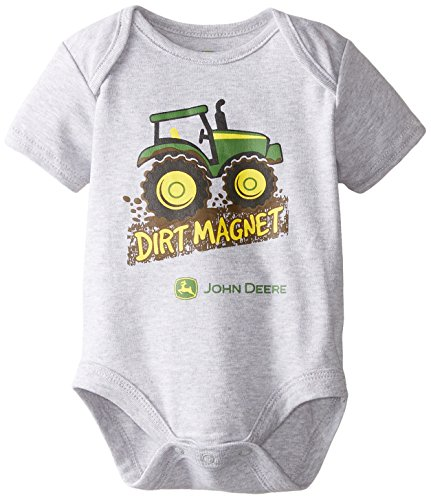 John Deere Baby-Boys Newborn Dirt Magnet Bodyshirt, Heather Grey, 9 Months