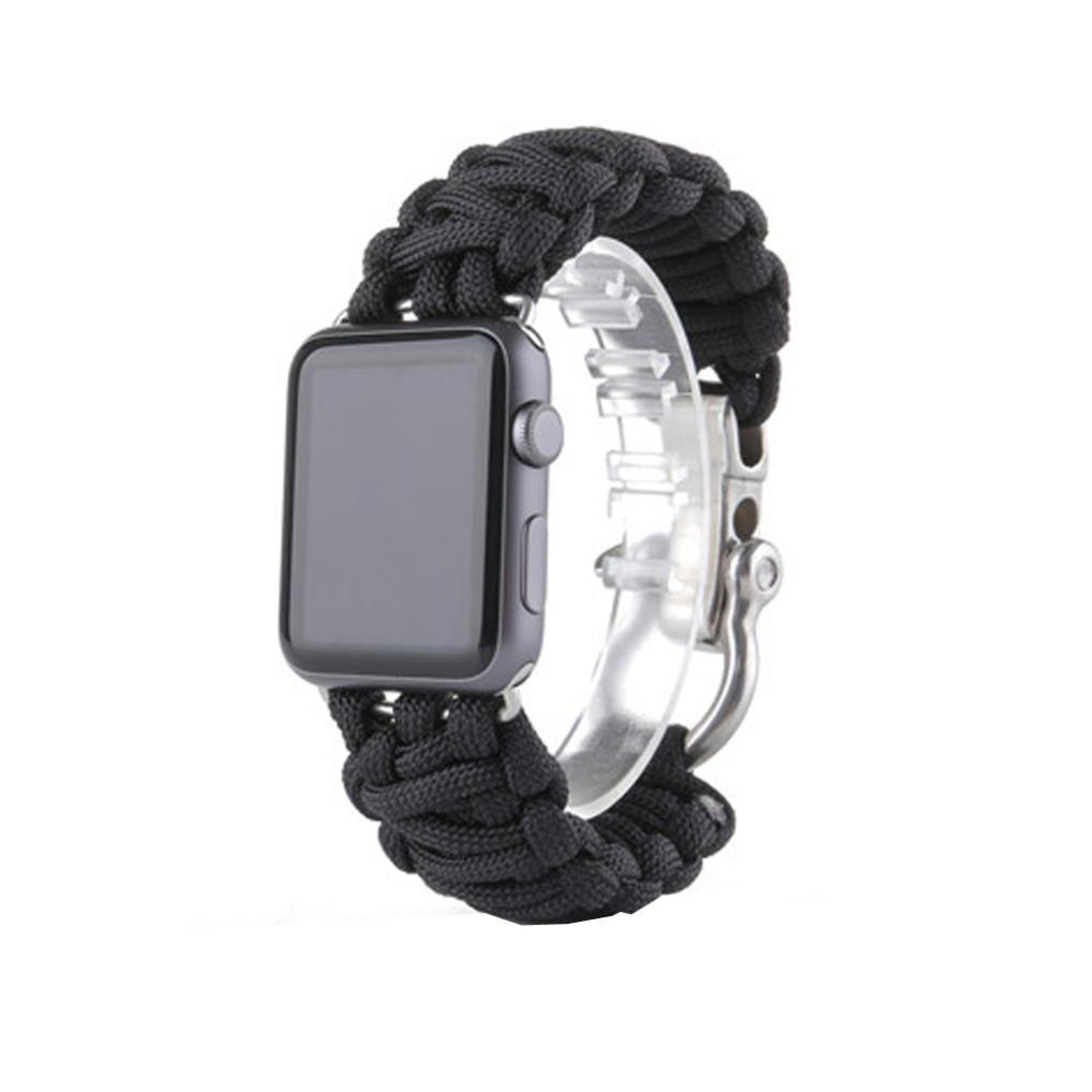 For Apple Watch iWatchバンド42 mm、sukeq新しいソフトゴムパラコードRuggedナイロンロープリストバンドブレスレット交換用ストラップwithアウトドアサバイバルステンレススチールシャックルfor iWatch Apple Watch 42 mm B079JR3CKW C C