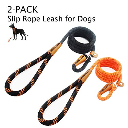 lynxking Dog Leash Rope Leads 2 Packs 6ft Strong Snap Hook Slip Leashes Hand Made Leather Clips with Double Layer Braided Handle for Small Medium Large Dogs (Orange and Black, 2 Pack Slip Leash)