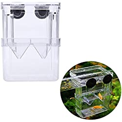 Vivian Transparent Breeding Baby Fish Divider Tank Aquarium Fish Breeder Box for Hatchery (8x 7x 11cm)