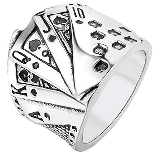 Jude Jewelers Stainless Steel Poker Games Casino Cocktail Party Biker Spade Ring (Silver, 9)