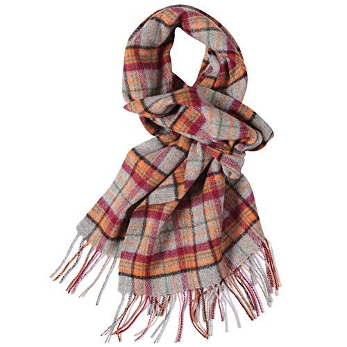 WAMSOFT Wool Scarf Winter, 100% Wool Mens Womens Comfortable Check Plaid Tartan Warm Knit Fashion Premium Long Scarves, Orange