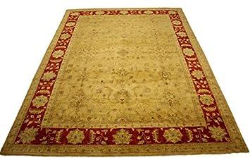 Teppich Ziegler Pakistan 368x275 Cm 100 Wolle Handgeknupft Beige