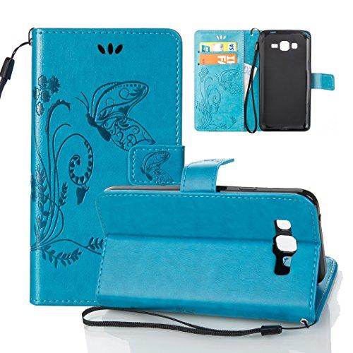 Funda Samsung Galaxy Core Plus G350 OuDu Carcasa de Billetera Funda PU Cuero Carcasa Suave Protectora con Correas de Teléfono Funda Arbol Flip Wallet Case Cover Bumper Carcasa Flexible Ligero Ultra De Azul