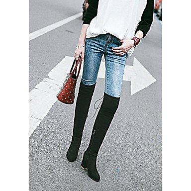DESY Damen Stiefel Modische Stiefel Herbst Winter Kunstleder Normal Kleid Schnürsenkel Blockabsatz Schwarz Grau 7,5 - 9,5 cm black