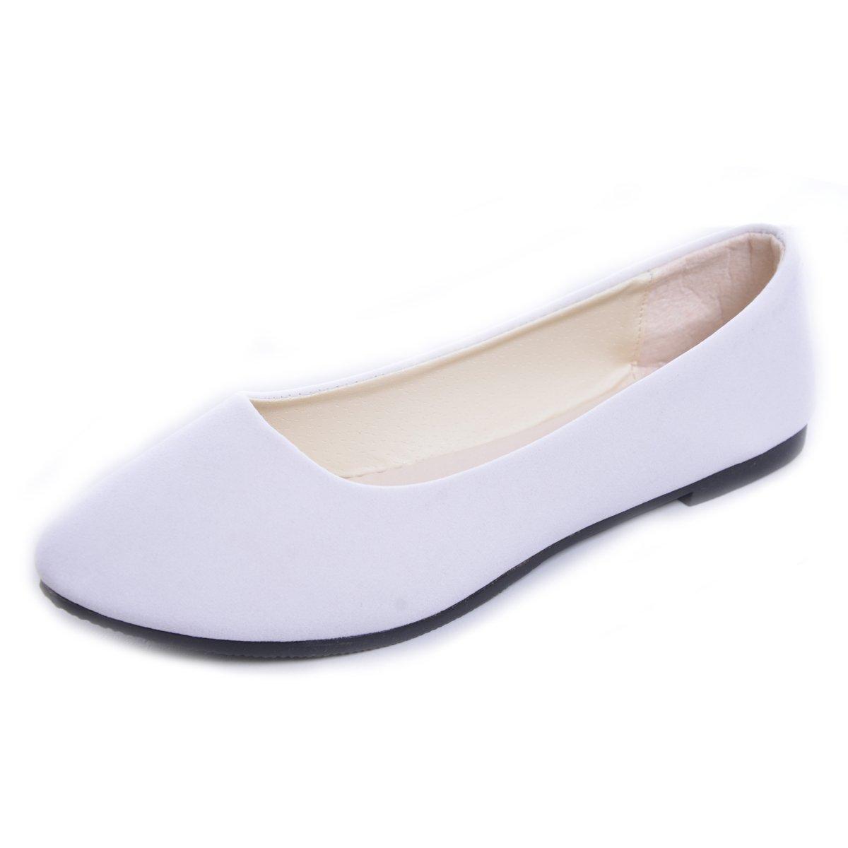 DeerYou Pointy Toe Ballet Flats Women Slip On Suede Ballerina Walking Shoes White US 7