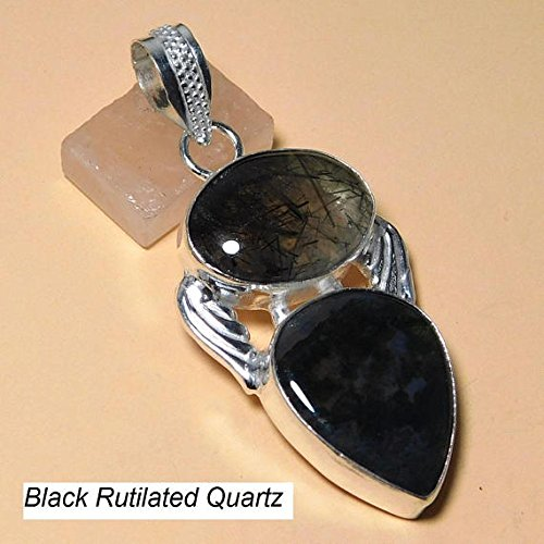 Black Rutilated Quartz Hydro Pendant Green Moss Agate Silver Overlay Fashion Jewellery 2 Inch Jewelry.