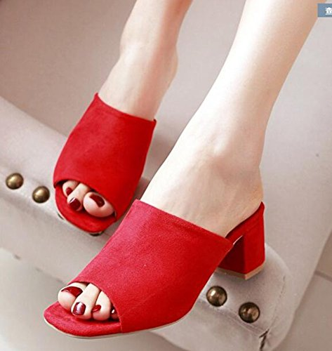 Suede Red Chunky Easemax Mid Sandals Slip Faux Elegant Heels Mules On Women's qYPtYr1