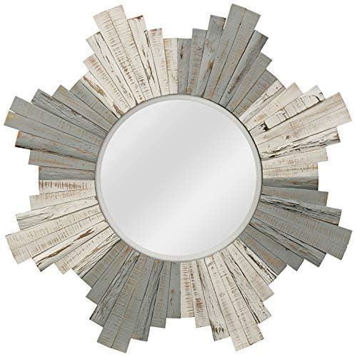 "White-Washed Gray Natural Wood 36"" Sunburst Wall Mirror"