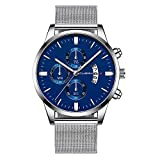 atches for Men Sports Chronograph Waterproof Analog Quartz Watch Classic Casual Stainless Steel Mesh Wristwatches