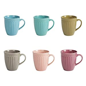 Porcelain Fluted Mugs - 13 Ounce for Coffee, Tea, Cocoa, Cold Assorted Colors Dishwasher And Microwave Safe Mugs Set of 6 (13oz Porcelain Fluted Mugs set of 6)