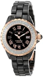 Swiss Legend Women's 10051-BKBRR Karamica Black MOP Dial Diamond Accented Black High Tech Ceramic Watch