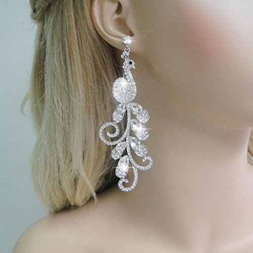 EVER FAITH 4 Inch Peacock Teardrop Dangle Earrings Austrian Crystal