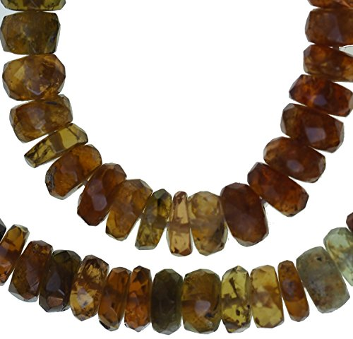 (uGems Brown Tourmaline Micro Faceted Rondelle Genuine Rare Natural Beads Strand Thin 14