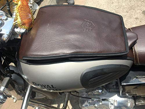 SaharaSeats Gun Metal & Pegasus Coffee Brown Only Tank Cover Complete for Royal Enfield Classic 350/500 (Gun Metal & Pegasus, Tank Cover)