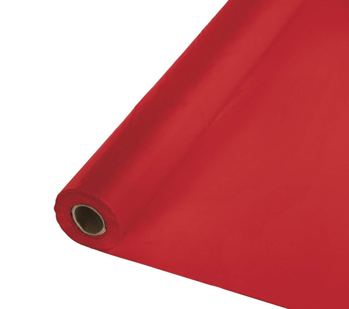 Creative Converting 100' Roll Plastic Table Cover, Classic Red