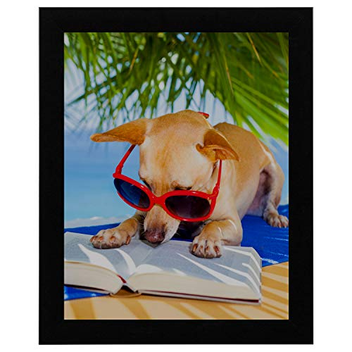 - WUwuWU 12x16 Inch Black Solid Wood Picture Frame Wall Arts Decor Relaxing Chihuahua Dog Reading Book Under Palms Dictionary Newspaper Vintage Simple Art Mirror Wall Decor Room Wall Paint Home Decor
