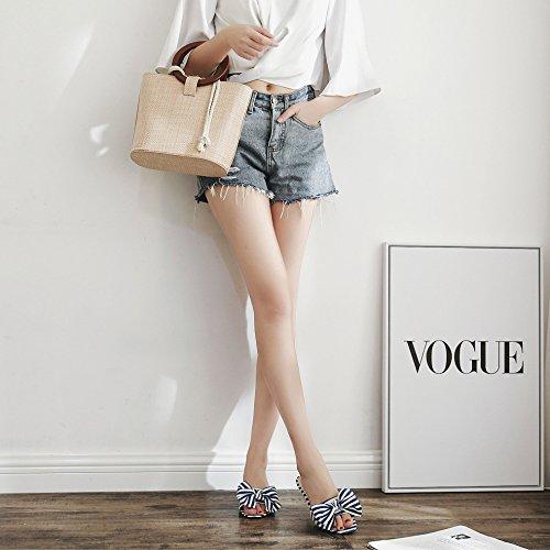 Talon Chaton Slippers Femmes Mule Chaussures Sandales Casual Stripes Blue Bow Summer qpXpwB