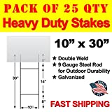 Vibe Ink Pack of 25 Quantity Heavy Duty Metal H-Stakes''H'' Frame Wire Stakes - Yard Sign Stake - Use with 4mm Corrugated Signs