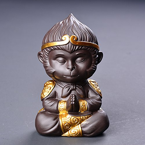 TYFOCUS Chinese Style Ceramic Purple Clay Monkey Tea Pet Handmade Qi Tian Da Sheng Wukong Decoration Home Tea Ceremony Accessories Gifts 2
