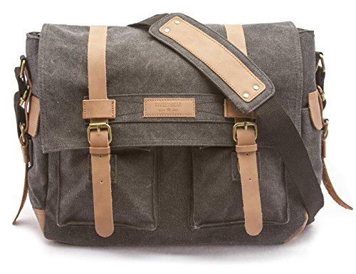 Sweetbriar Classic Laptop Messenger Bag, Black - Canvas - Vegan Laptop Messenger Bag