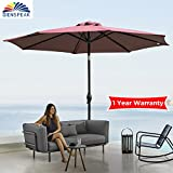 Dienspeak Deluxe 9′ Market Outdoor Aluminum Table Patio Beach Umbrella Sunshade 1000 Hours Fade-Resistant with Push Button Tilt and Crank, 250g/sqm Spun Polyester,8 Steel Ribs (burgenty/red)