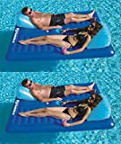 Swimline Swimming Pool Inflatable Durable 2 Person Air Mattresses with Cup Holders, 2 Pack