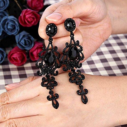 BriLove Women's Wedding Bridal Dangle Earrings with Victorian Style Crystal Teardrop Chandelier Black Black-Silver-Tone by BriLove (Image #2)