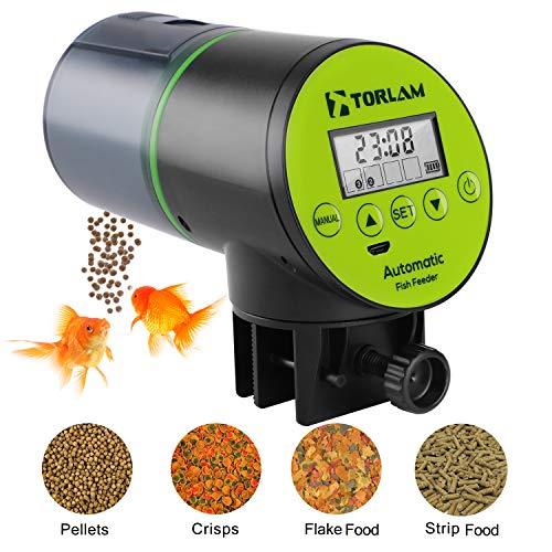 Torlam Automatic Fish Feeder, Moisture-Proof Electric Auto Fish Feeder,Aquarium Tank Timer Feeder Vacation &Weekend 2 Fish Food Dispenser