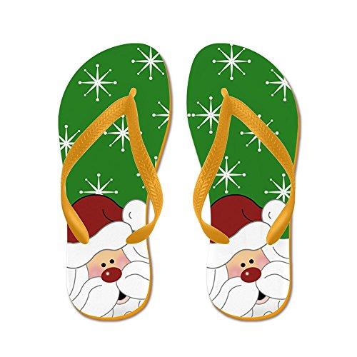 Cafepress Jultomte Flip Flops (grön) - Flip Flops, Roliga Rem Sandaler, Strand Sandaler Apelsin