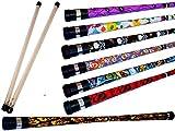 ART DECO Pro Devil Stick Set (7 Arty Designs!) with Silicone-coated Wooden Handsticks! Ideal Juggling Devilsticks for Beginners & Pro's! (SKULLS)