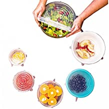 Kitchen + Home Silicone Stretch Lids Set of 6 Can stretch Silicone Food Saver Covers - BPA