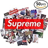 #8: 50 Pieces Supreme Stickers Assorted Variety Pack - Mix of Supreme Logo Stickers for Decorating Skateboards, Laptops, Luggage, etc. Glossy Waterproof Custom Supreme PVC Vinyl Stickers