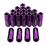 JDMSPEED Purple 60MM Aluminum Extended Tuner Lug Nuts For Wheel Rims M12X1.5 20PCS