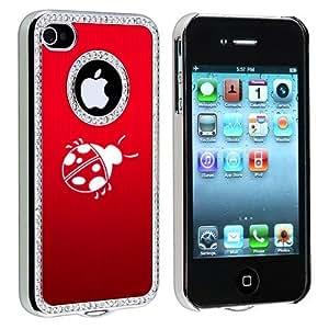 Apple iPhone 4 4S 4G Red S581 Rhinestone Crystal Bling Aluminum Plated Hard Case Cover Ladybug