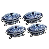 Temp-tations Carved Old World Set of 4 Covered Oval Casseroles -Blue
