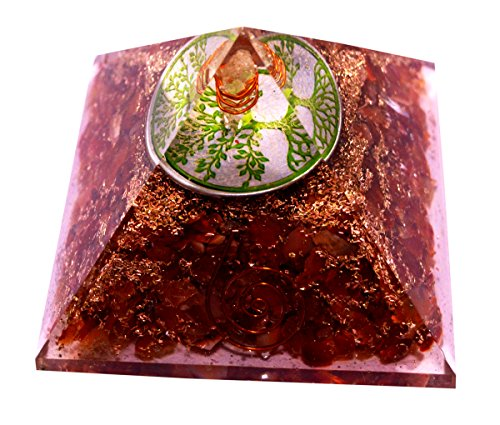 Reiki Energized Chakra Healing Large Orgone Pyramid with Orange Carnelian Gemstones with Copper Coiled Crystal Points for EMF Protection Meditation Yoga Energy Generator 3'' Size - Krishna Mart by Krishna Mart India (Image #3)
