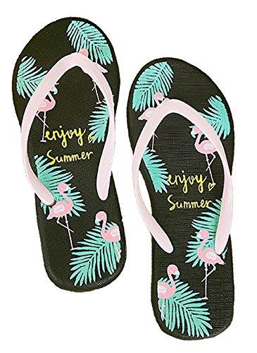 Pantofole Da Donna Flamingo Impermeabile Antiscivolo Estivo Infradito Con Scivoli, Sandali Esterni Neri