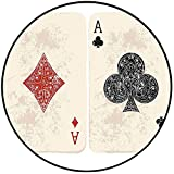 Short Plush Short Plush Round Rugs Ace of Diamonds Clubs Poker Cards Game Grunge Gambling Fortune Illustration Cream Red Microfiber Non-Slip Absorbent 39.3'' x 39.3'' Round