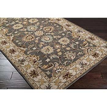 This Item Surya Caesar CAE 1005 Classic Hand Tufted 100% Wool Charcoal Gray  4u0027 Round Traditional Area Rug