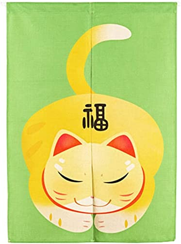 Liveinu Handmade Linen Doorway Divider Tapestry Japanese Noren Curtain with Tension Rod 33 x 47 Maneki Neko Lucky Cat Green