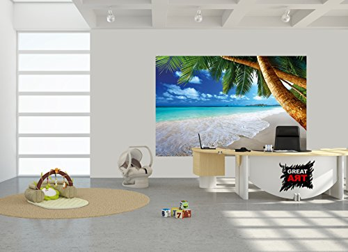 Sandy beach with palm trees and the sea photo wallpaper for Decor mural xxl cheval