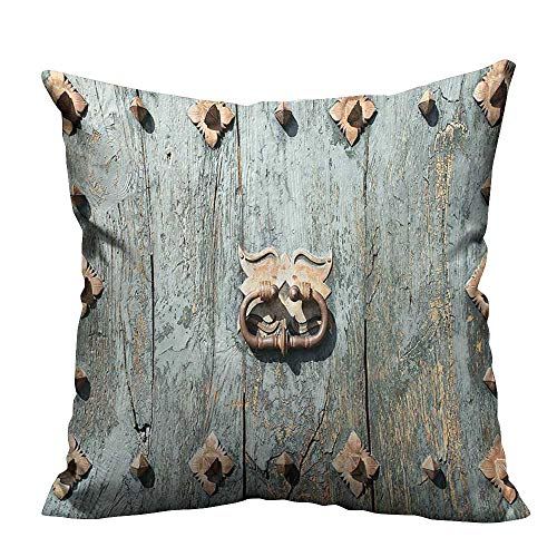 YouXianHome Lovely Cushion Covers European Cathedral with Rusty Metallic Door Knocker Gothic Medieval Times Spanish Print Br Resists Stains(Double-Sided Printing) 16x16 inch